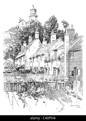 English Country Cottage From A Book Pictures Drawn With