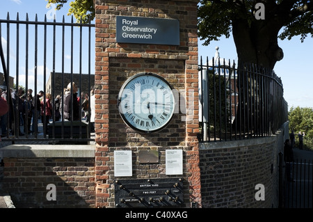 Royal Observatory Greenwich, Shepherd gate magnetic clock and British Yard measurements plaque, England, UK, EU - Stock Photo