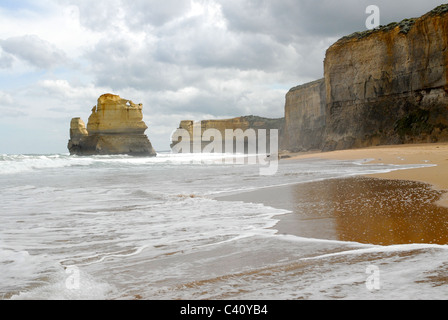 Gibson Steps looking west at the Great Ocean Road in the Port Campbell National Park, Victoria, Australia - Stock Photo