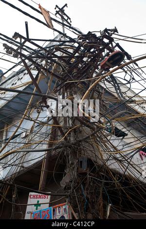 electric pole wires stock photo 75455816 alamy rh alamy com Worst Wiring India India Internet Wiring