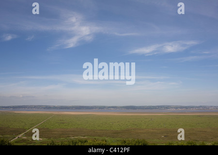 Expanse of sky above Llanrhidian Marsh, taken from Weobley castle, Gower, West Glamorgan, Wales - Stock Photo