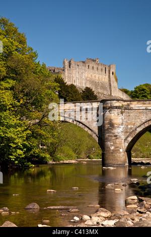 The Green Bridge and Castle, Richmond, North Yorkshire - Stock Photo
