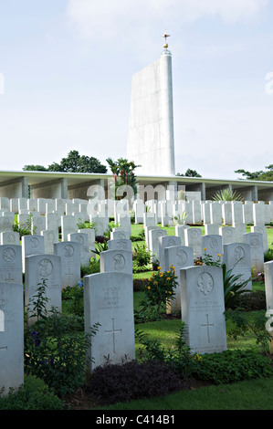 Singapore Memorial at Kranji War Cemetery in Recognition of Service Personnel Killed in Battle of Singapore Asia - Stock Photo