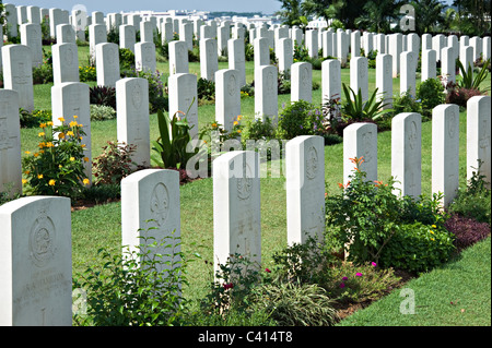 Headstones and Graves of Service Personnel Killed in Action in Kranji War Cemetery During World War II Singapore - Stock Photo