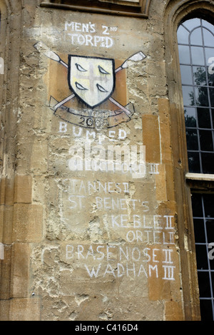 Rowing Honours chalked on a college wall commemorating victories over other college teams in the university city - Stock Photo