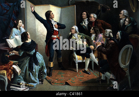 geography / travel, France, Revolution 1789 - 1799, Claude Roger de Lisle singing the 'Marseillaise' in the house - Stock Photo