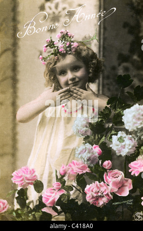 kitsch / souvenir, postcard, New Year, 'Bonne Annee' (Happy New Year!), postcard, child with roses, France, circa - Stock Photo