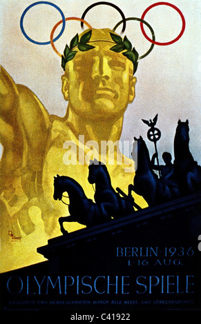 sports, XI. Olympic Games, summer games, Berlin, Germany, poster, 1936, Additional-Rights-Clearences-NA - Stock Photo