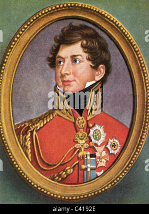 George IV, 12.8.1762 - 26.6.1830, King of Great Britain 29.1.1820 - 26.6.1830, portrait, colour print after miniature, - Stock Photo