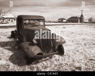 Old truck photographed in Infrared Shaniko, Oregon - Stock Photo