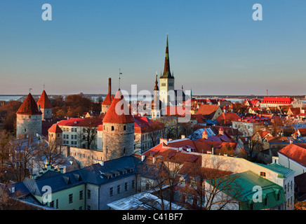 Capital of Estonia, Tallinn is famous for its World Heritage old town walls and cobbled streets. The old town is - Stock Photo