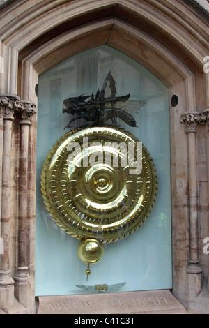 The Grasshopper Clock Corpus Christi College Cambridge - Stock Photo