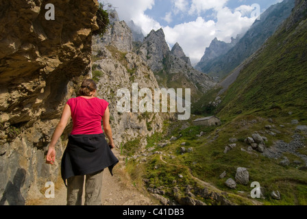 Walker on the dramatic footpath in the Garganta del Cares, Near Cain. Picos de Europa, Asturias. - Stock Photo
