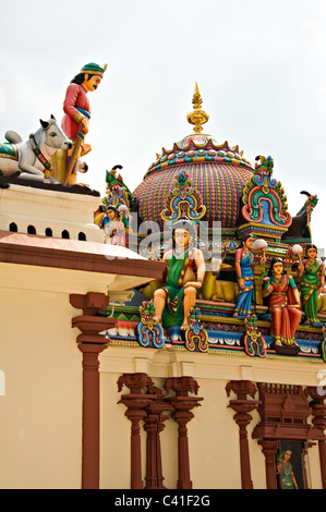 The Colourful Sri Mariamman Hindu Temple in Chinatown Singapore Republic of Singapore Asia - Stock Photo