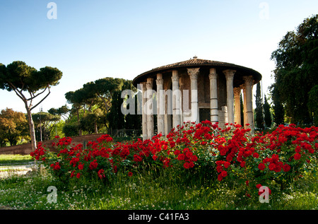 Temple of Vesta ( Temple of the vestals) the most ancient  marble temple in Rome, Italy- 1st century - Stock Photo