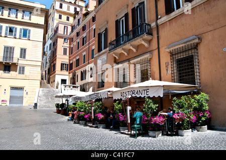 Street scene from Rome Piazza di Spagna - italian restaurant - Stock Photo