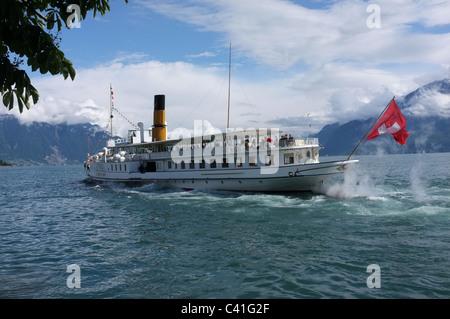 Paddle Steamer Simplon on Lake Geneva-1 - Stock Photo