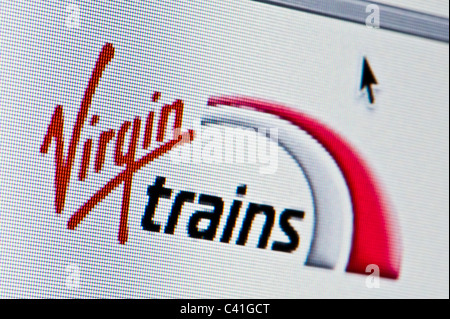 Close up of the Virgin Trains logo as seen on its website. (Editorial use only: print, TV, e-book and editorial - Stock Photo