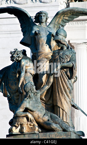 Bronze sculpture group-closeup of the Victor Emmanuel II monument in Rome, Italy - Stock Photo