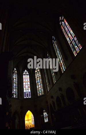 Stained glass windows inside of Saint Martin church, Colmar, France - Stock Photo