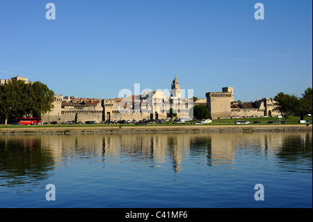 france, provence, avignon, rhone river, city walls - Stock Photo