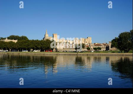 france, provence, avignon, rhone river, papal palace - Stock Photo