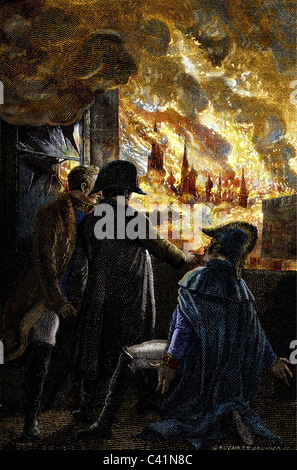 events, French invasion of Russia in 1812, Fire of Moscow, 14.- 18.9.1812, Emperor Napoleon I of France watching - Stock Photo