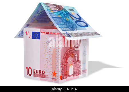 Photo of a model house made from Euro banknotes - Stock Photo