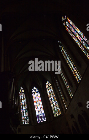 Stained glass windows inside of Saint Martin church, Colmar, France - Stock Photo