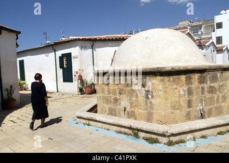 Old traditional houses in the Turkish occupied section of Nicosia in Cyprus - Stock Photo