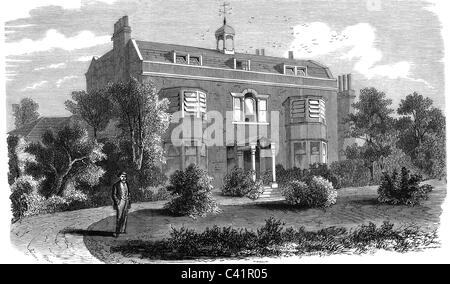Dickens, Charles, 7.2.1812 - 9.7.1870, British author / writer, his house Gads Hill Place near Rochester, wood engraving, - Stock Photo