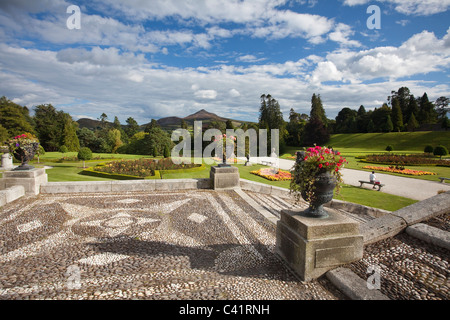 The gardens and forecourt of Powerscourt House, Enniskerry, County Wicklow, Ireland. - Stock Photo