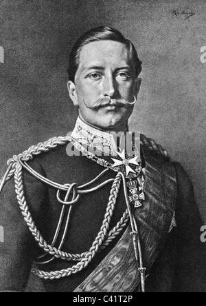 Wilhelm II, 27.1.1859 - 4.6.1941, German Emperor 1888 - 1918, portrait, lithograph after painting by Heinrich von - Stock Photo