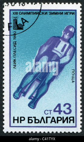 BULGARIA-1980: A stamp printed in the Bulgaria, devoted to the XIII Winter Olympic Games, Lake Placid, Bob - Stock Photo
