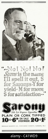 Original 1920s magazine advert for SARONY VIRGINIA CIGARETTES - Stock Photo