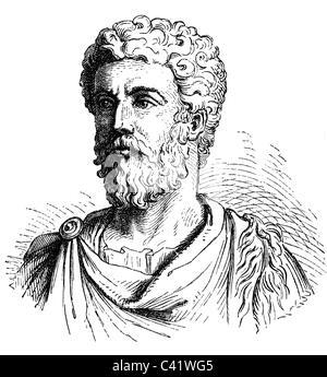 Marcus Aurelius Antoninus, 26.4.121 - 17.3.180, Roman Emperor 7.3.161 - 17.3.180, portrait, wood engraving, 19th - Stock Photo