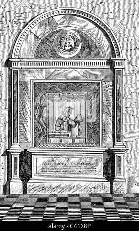 Dante Alighieri, 1265 - 14.9.1321, Italian author / writer, tomb in Ravenna, view, wood engraving, 19th century, - Stock Photo