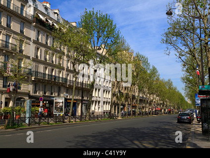 A typical avenue in Paris in the 7th Arrondissement in spring - Stock Photo