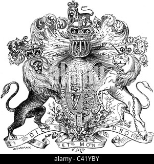19th Century book illustration, taken from 9th edition (1875) of Encyclopaedia Britannica, of Coat Of Arms Of Great - Stock Photo