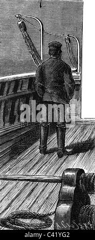 transport / transportation, navigation, crew, officer on watch on a sailer, wood engraving, Germany, 1887, Additional - Stock Photo