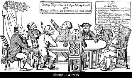 geography / travel, Germany, politics, censorship, caricature 'Der Denkerclub' ('The Thinkers Club'), circa 1820, - Stock Photo