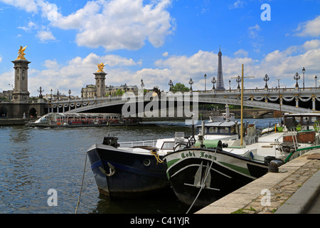 Houseboats On The Seine River In Paris France Stock Photo