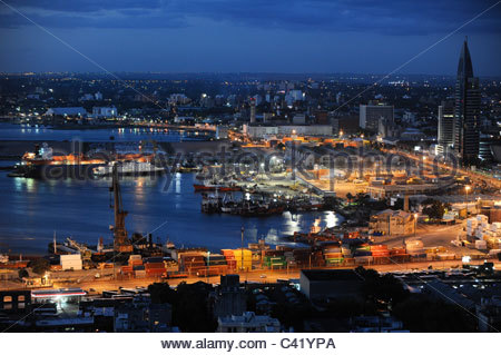 URUGUAY Montevideo view from Palacio Salvo at Plaza de Independencia to the harbour at Rio del la Plata - Stock Photo