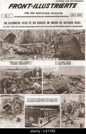 events, Second World War / WWII, propaganda, Soviet propaganda newspaper, 'Front-Illustrierte fuer den deutschen - Stock Photo