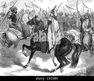 Murad Bey Muhammad, 1750 - 7.4.1801, Emir of Mamluks, Duovir of Egypt 1778 - 1798, speech to the cavalry, 1798, - Stock Photo