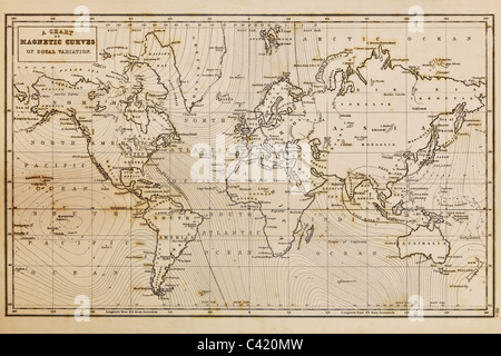 Photo of a genuine hand drawn world map, it was drawn in 1844 and therefore the countries are named as they were - Stock Photo