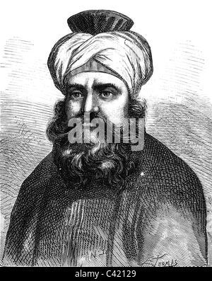 Murad Bey Muhammad, 1750 - 7.4.1801, Emir of Mamluks, Duovir of Egypt 1778 - 1798, portrait, wood engraving, 19th - Stock Photo