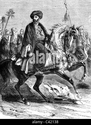 Murad Bey Muhammad, 1750 - 7.4.1801, Emir of Mamluks, Duovir of Egypt 1778 - 1798, heading the cavalry, 1798, wood - Stock Photo