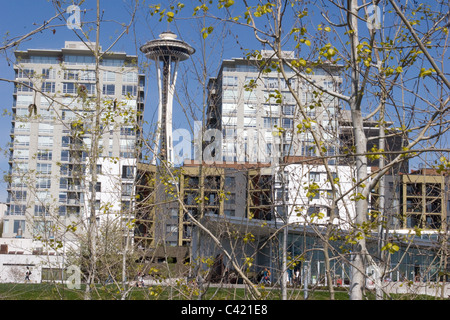 Space Needle, PACCAR Pavilion, and apartment buildings seen through a screen of trees. - Stock Photo