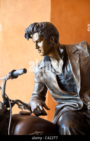 Elvis Presley on a Motorcycle bronze sculpture by Jeff Decker at Harley Davidson dealership in Daytona, Florida, - Stock Photo